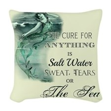 The Mermaids Cure Woven Throw Pillow