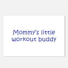 MOMMYS-LITTLE-WORKOUT-BUDDY-kri-blue Postcards (Pa