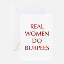 REAL-WOMEN-DO-BURPEES-OPT-RED Greeting Cards