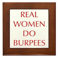 REAL-WOMEN-DO-BURPEES-OPT-RED Framed Tile