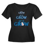 LET IT GROW Women's Plus Size Scoop Neck Dark T-Sh