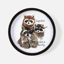 Together We Make A Family Cute Raccoon Wall Clock