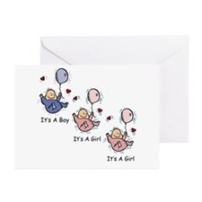 It's a Boy Girl Girl Triplets Greeting Cards (Pk o