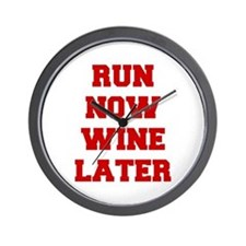 RUN-NOW-WINE-LATER-FRESH-RED Wall Clock