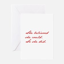 SHE-BELIEVED-SHE-COULD-jan-red Greeting Cards