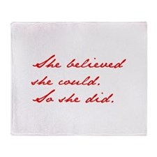 SHE-BELIEVED-SHE-COULD-jan-red Throw Blanket