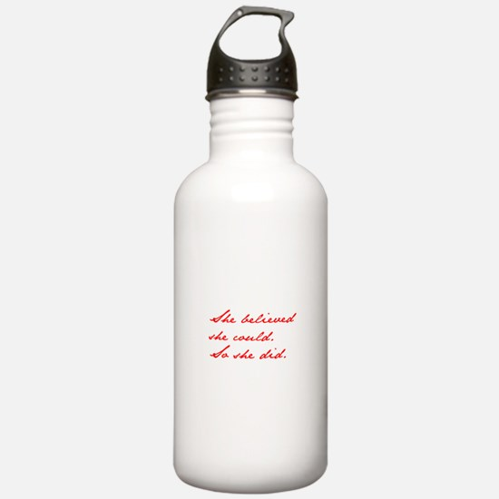 SHE-BELIEVED-SHE-COULD-jan-red Water Bottle