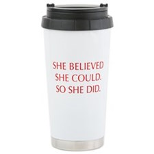 SHE-BELIEVED-SHE-COULD-OPT-RED Travel Mug