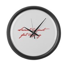 SWEAT-IS-JUST-FAT-CRYING-jan-red Large Wall Clock