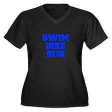 SWIM-BIKE-RUN-FRESH-BLUE Plus Size T-Shirt