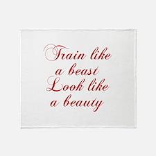 TRAIN-LIKE-A-BEAST-cho-red Throw Blanket