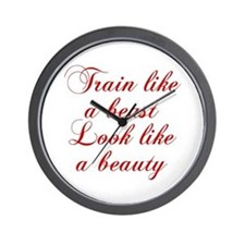 TRAIN-LIKE-A-BEAST-cho-red Wall Clock
