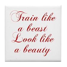 TRAIN-LIKE-A-BEAST-cho-red Tile Coaster