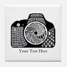 Zentangle SLR Camera Black and White Tile Coaster