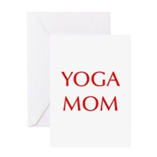 YOGA-MOM-OPT-RED Greeting Cards