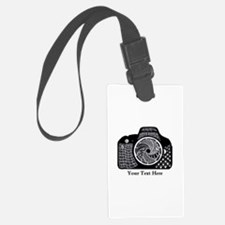 Black and White Abstract Camera Luggage Tag