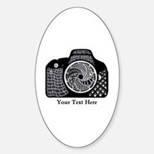 Black and White Abstract Camera Sticker (Oval)