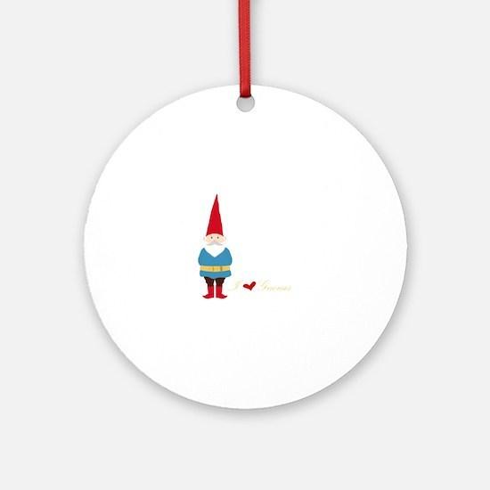 I L ove Gnomes Ornament (Round)
