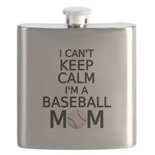 I cant keep calm, I am a baseball mom Flask