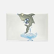 Silly Soccer Shark Rectangle Magnet