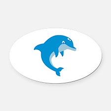 Blue Dolphin Oval Car Magnet