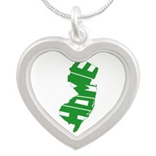 New Jersey Home Silver Heart Necklace