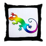Rainbow Gecko Throw Pillow