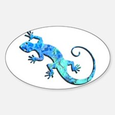 Malachite Blue Gecko Sticker (Oval)