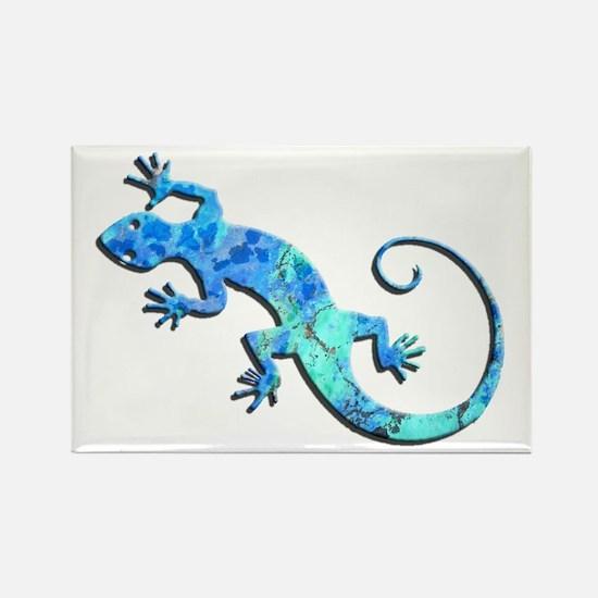 Malachite Blue Gecko Rectangle Magnet