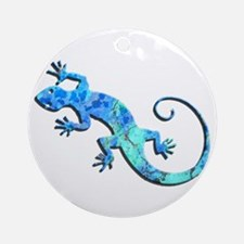 Malachite Blue Gecko Ornament (Round)