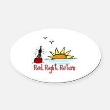 Red Right Oval Car Magnet