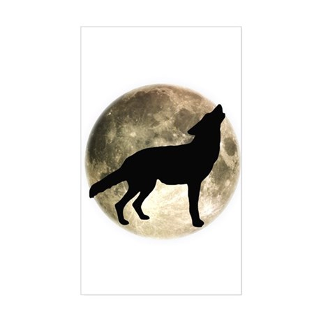 Coyote Howl Moon Rectangle Sticker