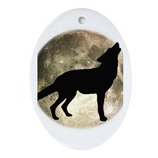 Coyote Howl Moon Oval Ornament