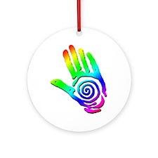 Rainbow Petroglyph Hand Ornament (Round)