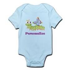 Personalize Wiggle Worm & Butterfl Infant Bodysuit