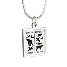 Animal Lover or Hypocrite? Silver Square Necklace