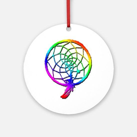 Rainbow Dreamcatcher Ornament (Round)