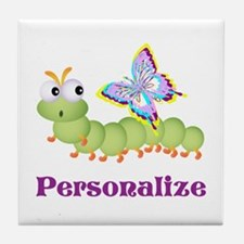 Personalize Wiggle worm Butterfly Tile Coaster