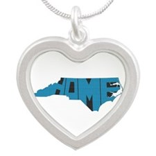 North Carolina Home Silver Heart Necklace