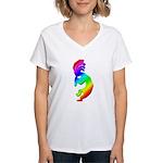 Rainbow Kokopelli Women's V-Neck T-Shirt