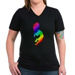 Rainbow Kokopelli Women's V-Neck Dark T-Shirt