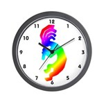 Rainbow Kokopelli Wall Clock