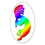 Rainbow Kokopelli Oval Sticker