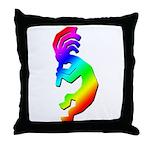 Rainbow Kokopelli Throw Pillow