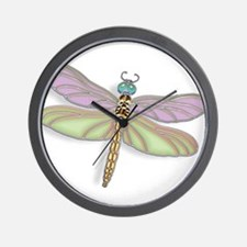 Lavender and Green Dragonfly Wall Clock