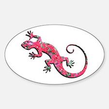 Pink Rose Gecko Sticker (Oval)