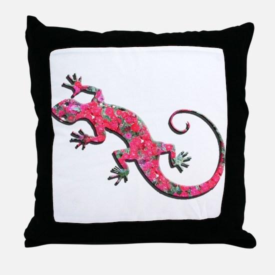 Pink Rose Gecko Throw Pillow