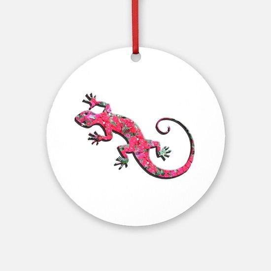 Pink Rose Gecko Ornament (Round)