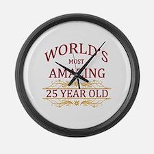 25th. Birthday Large Wall Clock