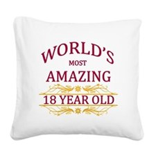 18th. Birthday Square Canvas Pillow